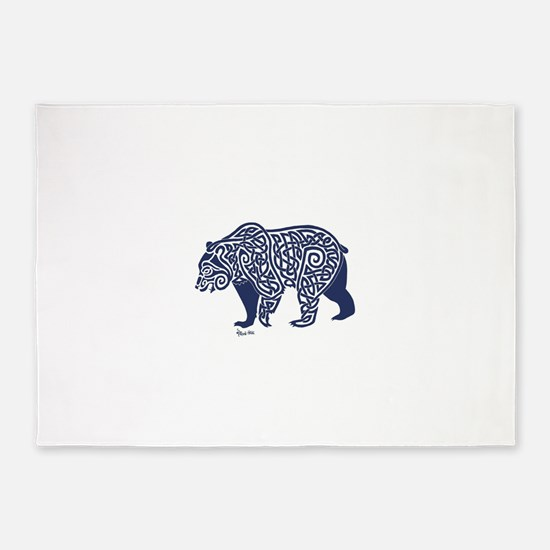 Bear Knotwork Blue 5'x7'Area Rug