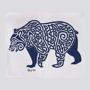 Bear Knotwork Blue Throw Blanket
