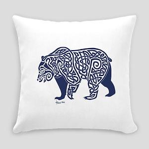 Bear Knotwork Blue Everyday Pillow