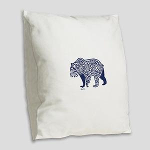 Bear Knotwork Blue Burlap Throw Pillow