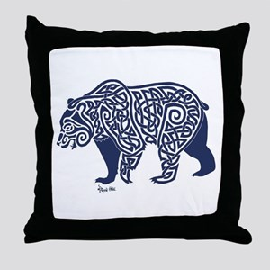 Bear Knotwork Blue Throw Pillow