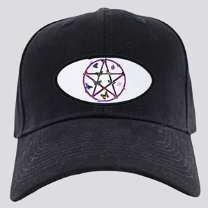 Wiccan Star and Butterflies Black Cap