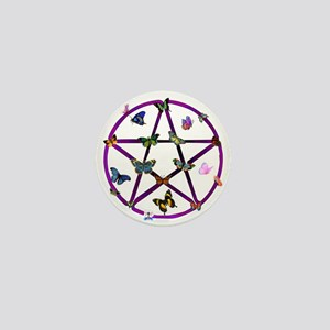 Wiccan Star and Butterflies Mini Button