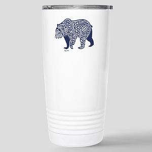 Bear Knotwork Blue Stainless Steel Travel Mug