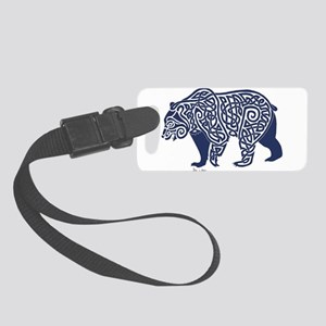 Bear Knotwork Blue Small Luggage Tag