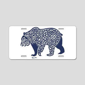 Bear Knotwork Blue Aluminum License Plate