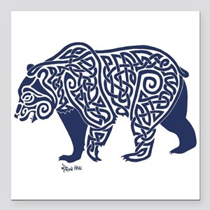 "Bear Knotwork Blue Square Car Magnet 3"" x 3"""