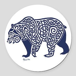 Bear Knotwork Blue Round Car Magnet