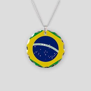 Brazil Flag Necklace Circle Charm