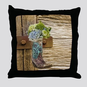 flower western country cowboy boots Throw Pillow