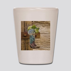 flower western country cowboy boots Shot Glass