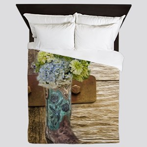 flower western country cowboy boots Queen Duvet