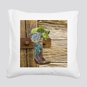 flower western country cowboy Square Canvas Pillow