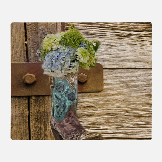 flower western country cowboy boots Throw Blanket