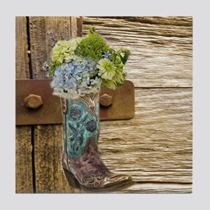 flower western country cowboy boots Tile Coaster