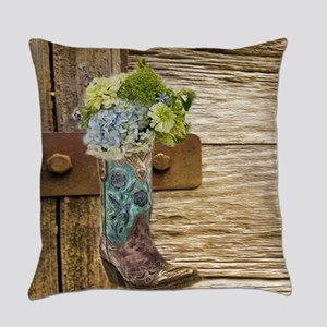 flower western country cowboy boot Everyday Pillow
