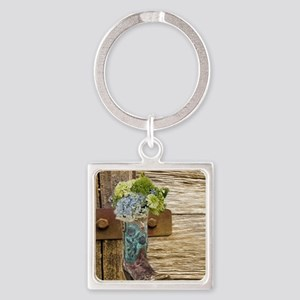 flower western country cowboy boot Square Keychain