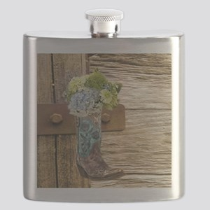 flower western country cowboy boots Flask