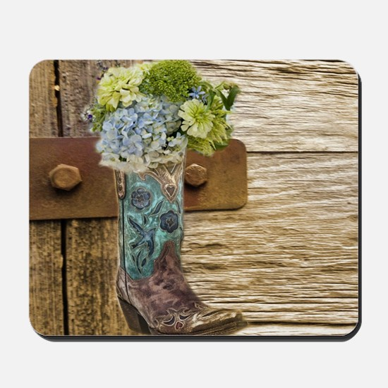flower western country cowboy boots Mousepad
