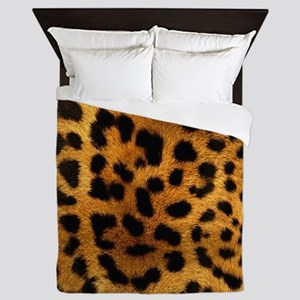 girly trendy leopard print Queen Duvet