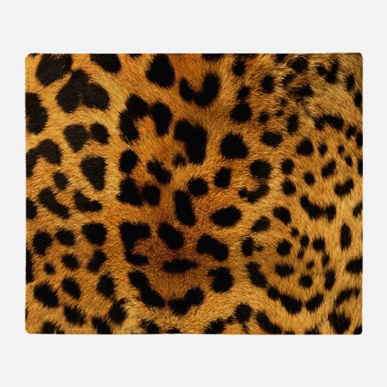 girly trendy leopard print Throw Blanket