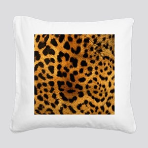 girly trendy leopard print Square Canvas Pillow