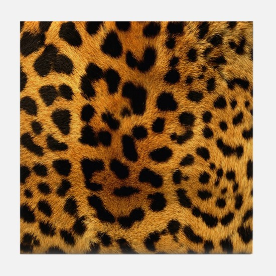 girly trendy leopard print Tile Coaster