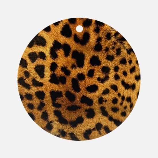 girly trendy leopard print Round Ornament