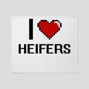 I love Heifers Throw Blanket