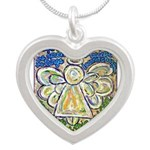 Serenity Prayer Angel Silver Heart Necklace