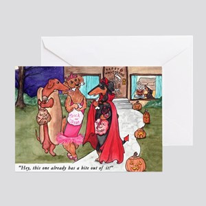 Dachshund halloween greeting cards cafepress trick or treat doxies greeting card m4hsunfo