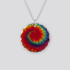 Tie Dye Necklace Circle Charm