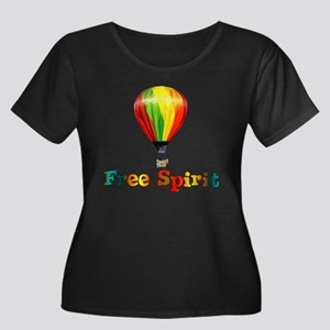 Free Spirit Women's Plus Size Scoop Neck Dark T-Sh