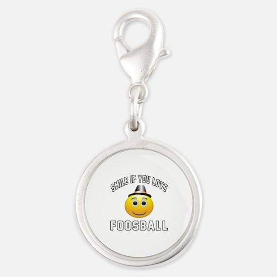 Foosball Cool Designs Silver Round Charm