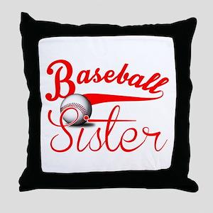 Baseball Sister Throw Pillow