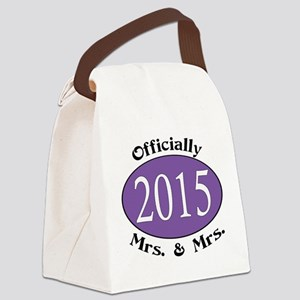 Officially Mrs. & Mrs. 2015 Purpl Canvas Lunch Bag