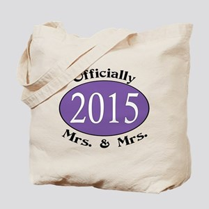 Officially Mrs. & Mrs. 2015 Purple Tote Bag