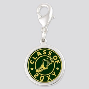 Class of 20XX Track Silver Round Charm