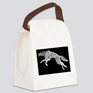 White Wolf on Black Canvas Lunch Bag