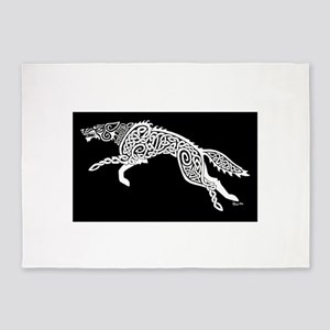 White Wolf on Black 5'x7'Area Rug