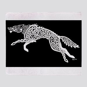 White Wolf on Black Throw Blanket