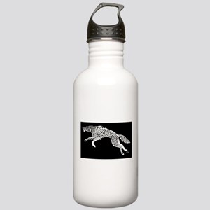 White Wolf on Black Stainless Water Bottle 1.0L