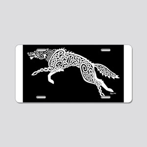 White Wolf on Black Aluminum License Plate