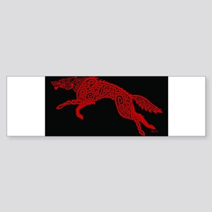 Red Wolf on Black Bumper Sticker