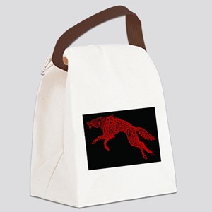 Red Wolf on Black Canvas Lunch Bag