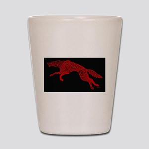 Red Wolf on Black Shot Glass