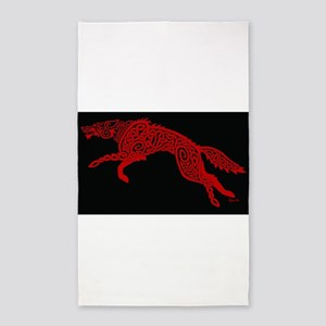 Red Wolf on Black Area Rug