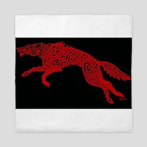 Red Wolf on Black Queen Duvet