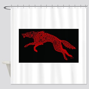 Red Wolf on Black Shower Curtain