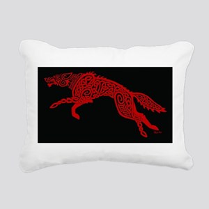 Red Wolf on Black Rectangular Canvas Pillow